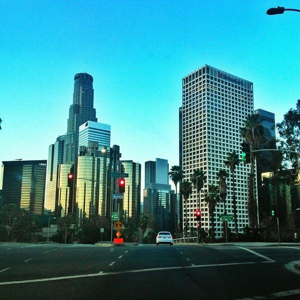 On my way home I always get to see this beautiful view Cityoflosangeles DTLA DowntownLA Beautifulmorning greatcolors viewfrommycar myedit