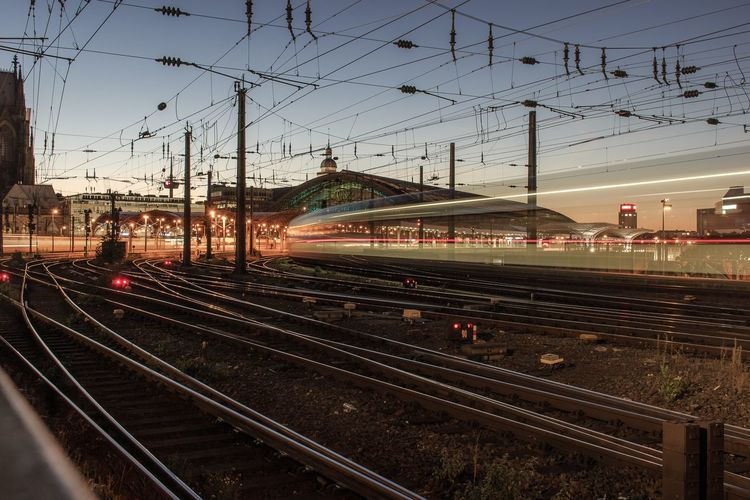 Train pulling into Cologne Main Station Long Exposure Rail Transportation Transportation Railroad Track Track Mode Of Transportation Public Transportation Train Train - Vehicle Sky No People Travel Architecture Motion Nature Illuminated Built Structure Outdoors Railroad Station City Building Exterior