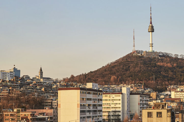 The afternoon view of seoul with n seoul tower