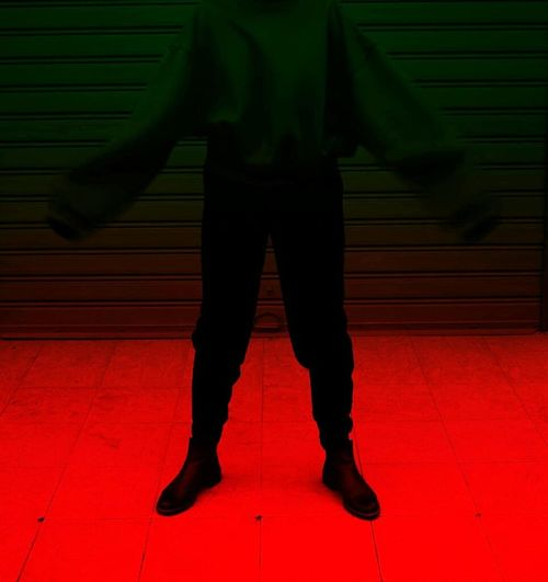 Low Section Illuminated Red Standing Full Length Men Human Leg
