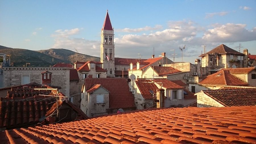 Trogir cathedral in town against sky