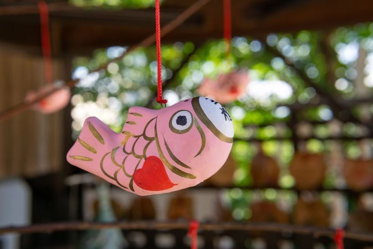 Lovely pink fish in shrine. Japan Place Of Worship Shrine Travel Animal Animal Representation Animal Themes Art And Craft Bokeh Close-up Craft Creativity Fish Focus On Foreground Hanging Heart Shape Kobe Outdoors Pink Color Positive Emotion Representation Rope Travel Destinations