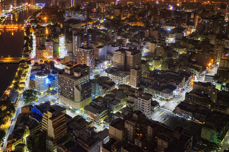 High Angle View Of City Lit Up At Night