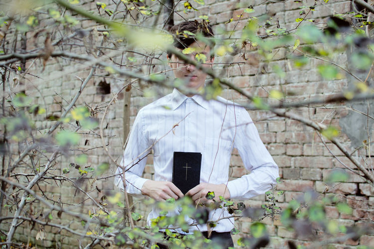Religion Religious  Bible Holly Baptism Baptist Baptistery Jehovah's Witness God Jesus Jesus Christ Plant One Person Day Front View White Color Real People Standing Outdoors Young Adult Forest Lifestyles