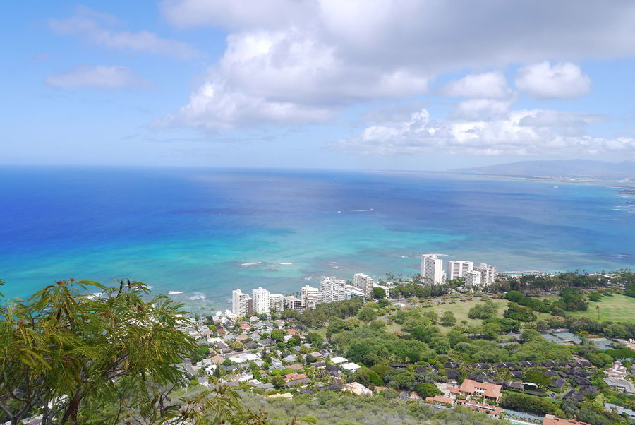 Cloudy Diamondhead Distant Hawaii Honeymoon Honolulu, Hawaii Outdoors Scenics Sky Tranquil Scene Tropical Climate Views Water