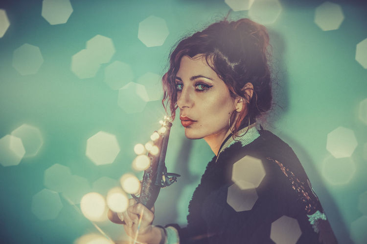 Young Adult Beautiful Woman Portrait Beauty One Person Young Women Adult Beautiful People Looking At Camera Women Headshot Hairstyle Brown Hair Looking Make-up Fashion Hair Lens Flare Contemplation Pistol Attitude Attitude Is Everything