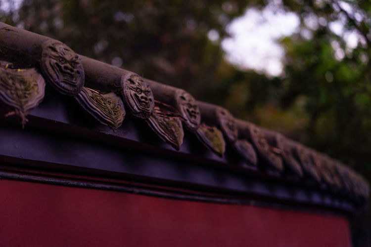 An ancient wall China Landscape Chinese Culture Architecture Night Low Angle View No People Focus On Foreground Selective Focus Close-up Art And Craft Craft Building Exterior Outdoors Building The Past Creativity History