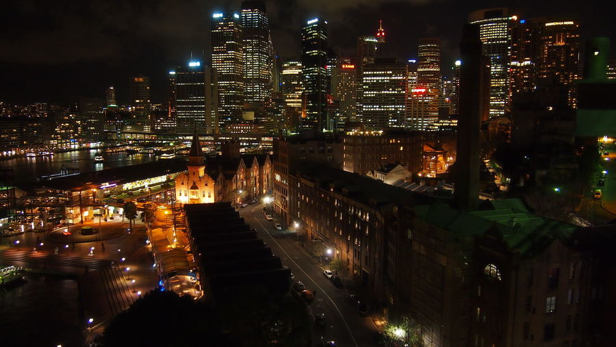 Australia The Rocks The Rocks Sydney Architecture Building Building Exterior Built Structure City City Life Cityscape Glowing High Angle View Illuminated Modern Night Nightlife No People Office Building Exterior Residential District Skyscraper Sydney The Rocks Tall - High Transportation