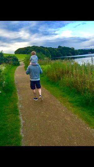 Family Walks Dad Daughter Daddy's Girl Lake Piggyback Pathway
