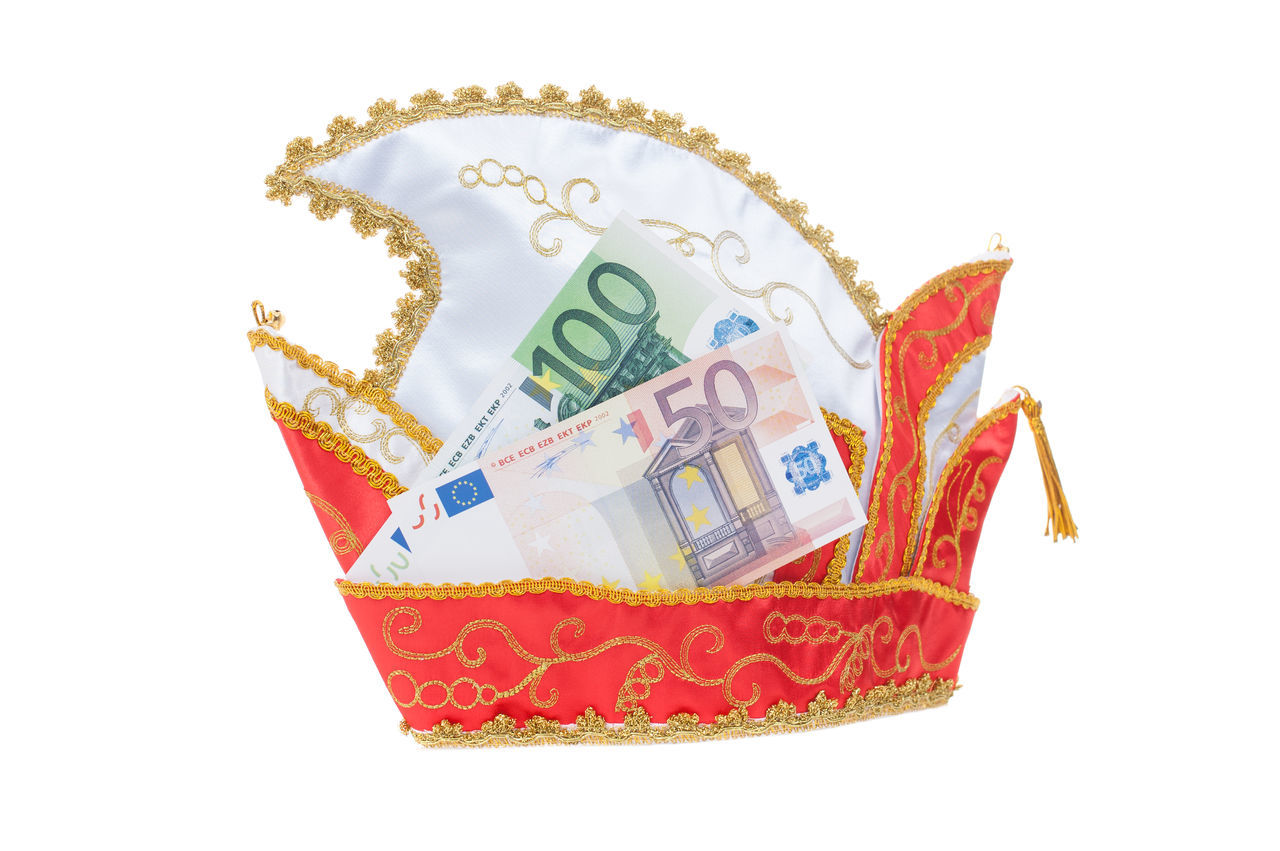 Carnival cap with euro notes on white background Budget Carnival Carnival Season Hat Cap Carnival Cap Costs Cut Out Euro Notes Money Shrove Monday Studio Shot White Background