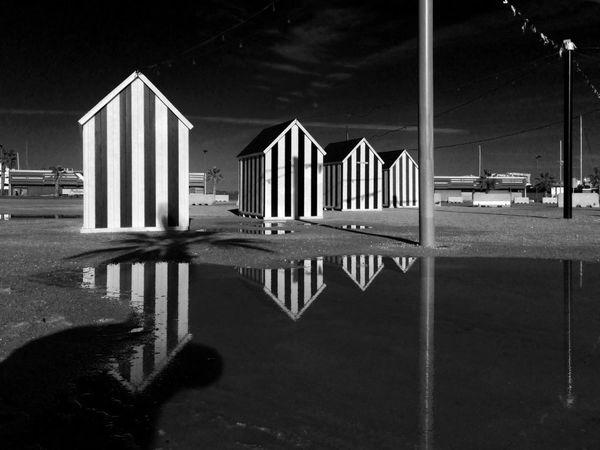 Beach Huts Beach Mediterranean  Sea Black And White Monochrome Water Reflections In The Water Shadows & Lights Vilanova I La Geltru Catalonia Reflections Sky