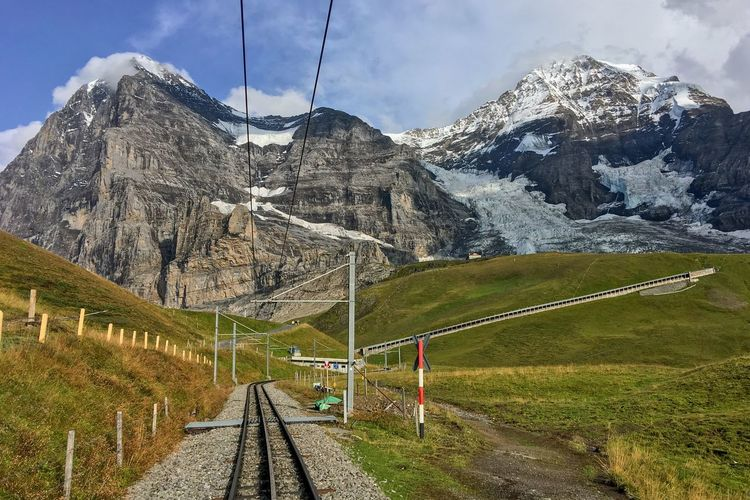 Eiger, Mönch, Jungfrau Switzerland Berner Oberland Eigernordwand Swiss Alps Jungfrau Mönch Eiger Mountain Nature Transportation Snow Beauty In Nature Mountain Range Scenics Railroad Track Landscape Day Snowcapped Mountain No People Cloud - Sky Tranquility Outdoors