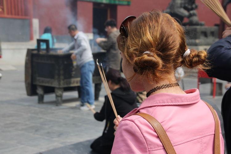 Rear view of women