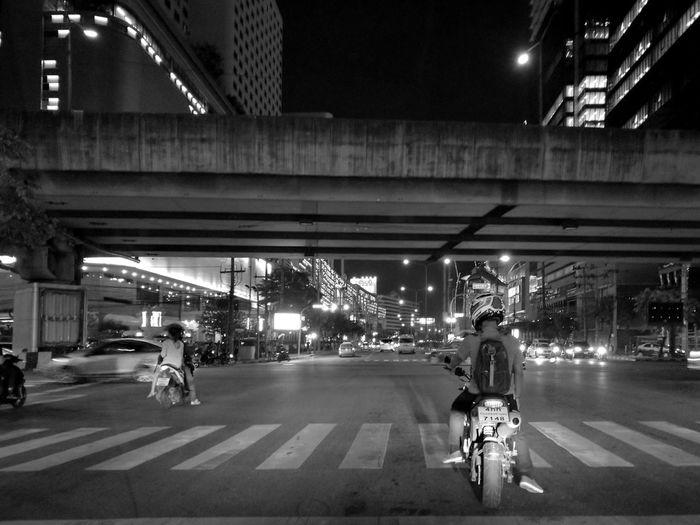 You never gonna go if you don't go now.Monochrome Bike Streetphotography Street Bangkok Thailand Blackandwhite Traffic City Cityscapes Night Dark