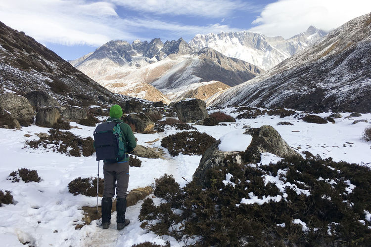 Rear view of man on snowcapped mountains against sky