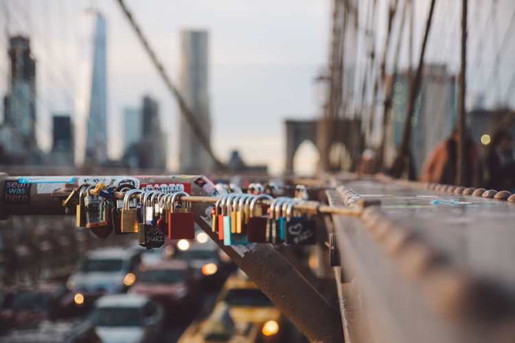 Close-Up Of Padlocks On Railing In New York City