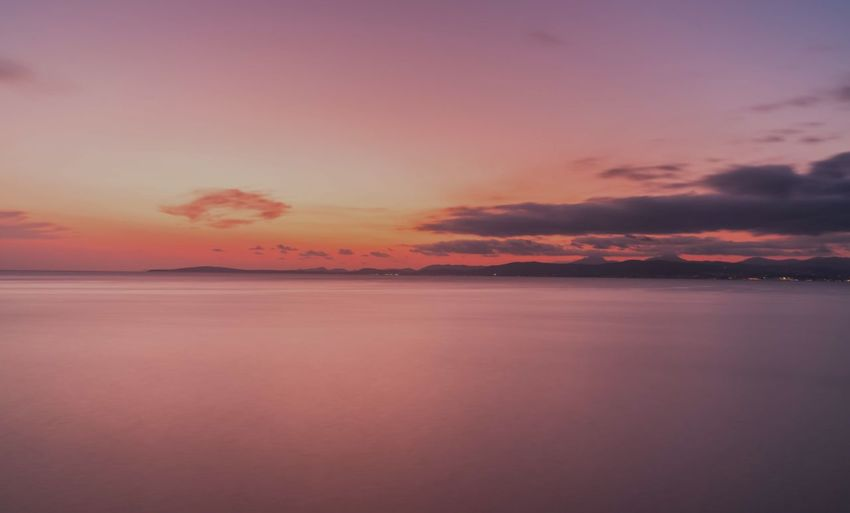 Water Sea Sunset Beach Beauty Blue Horizon Pink Color Reflection Sun Romantic Sky