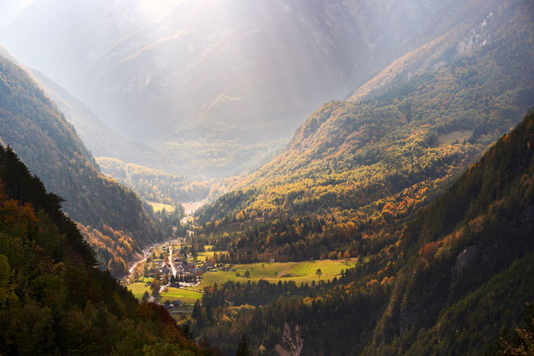 Mountain Scenics - Nature Landscape Nature Tranquility Sunlight Idyllic Outdoors Beauty In Nature Mountain Range Alps Valley Autumn Fall Mist Scenery Weather Fog Haze Travel Mood Highlands Sunbeam Cliff Dramatic