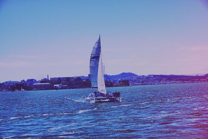 Sea Water Nautical Vessel Sailing Sailboat Sky Beauty In Nature No People Nature