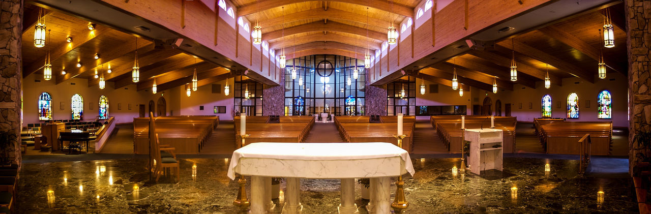 Peace n Love Absence Altar, Belief, Releigion Ceiling Chair Church, Catholic Church, Empty Church, Panorama, Empty Indoors  Interior Order Peace, Quite, Worship, Place Of Worship Seat