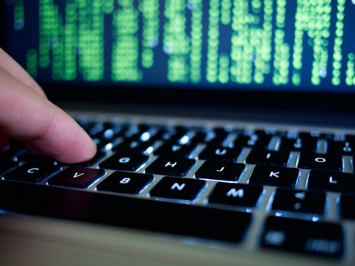 Closeup Hacker Hacking Keyboard Matrix Typing