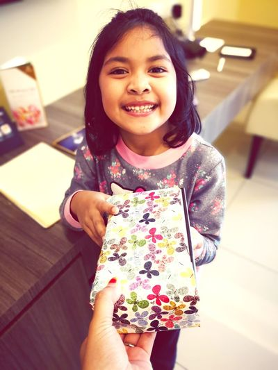 Present Gift Birthday EyeEm Selects Child Smiling Domestic Room Cheerful Togetherness Happiness Wireless Technology Females Girls Childhood
