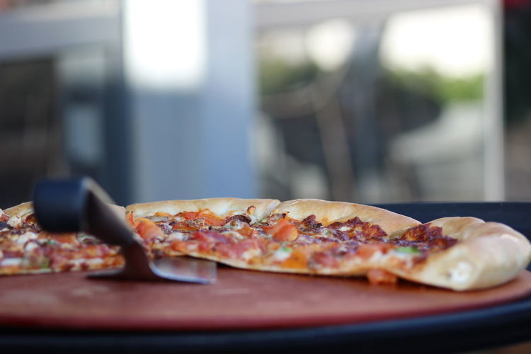 Close-up of pizza slices on plate