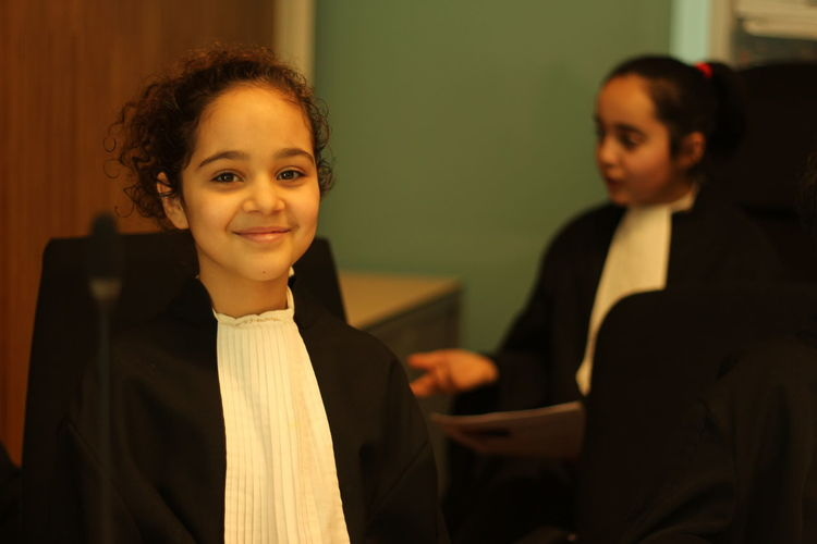 Roleplay Girls Children Court Lawyer Toga Two People Indoors  Portrait Looking At Camera Confidence  Smiling Females Women