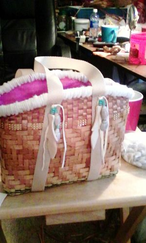 Pretty lil handbasket/purse. Pink lining. Wool rim. Sraps/yellowvcedar paddlrs w leathet. First Eyeem Photo