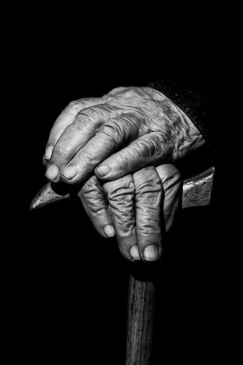 Old hands Old Granny Hands Oldies Stick Black And White Photography Human Hand Black Background Studio Shot Human Finger Close-up Fist Body Part Finger