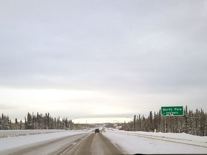Another day. Winter NorthPole ✨ Alaska. Road Sign Roads Last Frontier Cold Day City Travel No Traffic