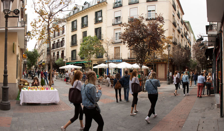... Architecture Building Exterior City City Street Day Eating Large Group Of People Madrid Outdoors People SPAIN Street Table Tree Women
