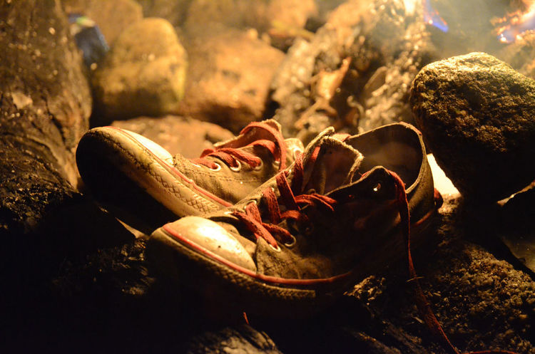 Close-up Drying Firelight Fireplace Shoes