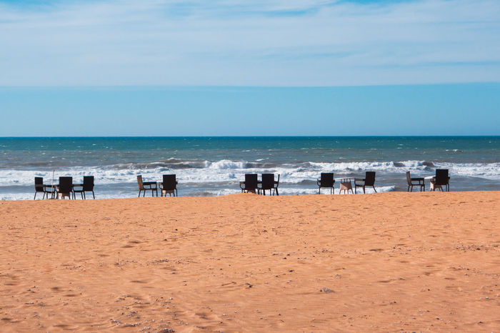 Beach Beauty In Nature Blue Cofee Day Holiday Horizon Over Water Hot Nature No People Outdoors Sand Scenics Sea Sea And Sky Seascape Sky Summer Tables And Chairs Taking Photos Travel Destinations Vacation Vacations Water Wave