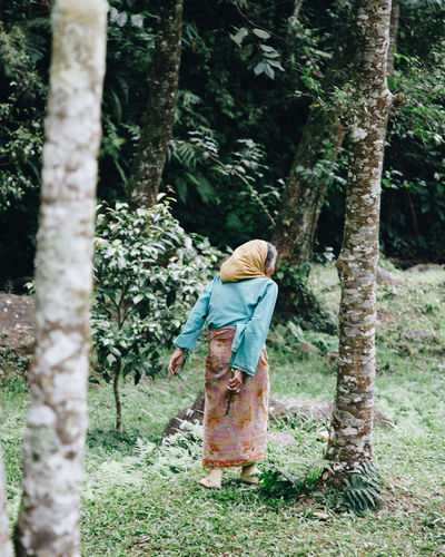 Tranquility Transportation Casual Clothing Day Field Forest Full Length Growth Hairstyle Land Leisure Activity Lifestyles Nature One Person Outdoors Plant Real People Rear View Standing Tree Tree Trunk Trunk Village Women WoodLand