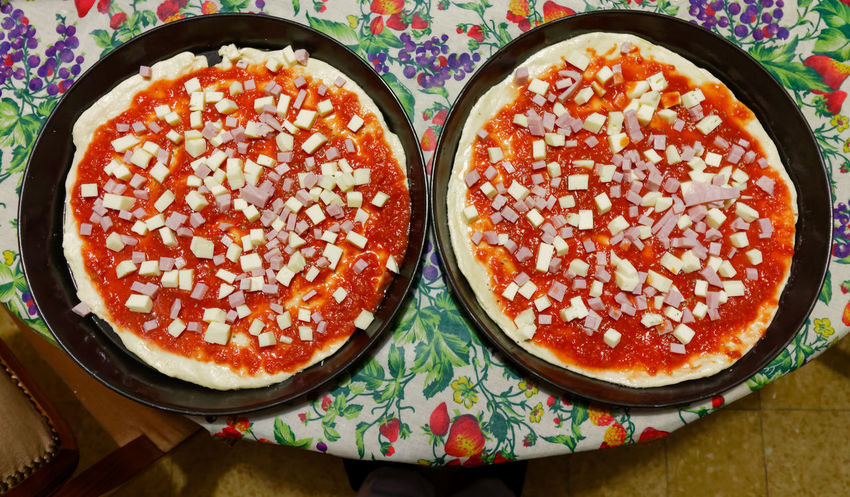 Wide Angle on Pizzas Close-up Day Food Food And Drink Food And Drink Freshness Healthy Eating Homemade Homemade Food Homemade Pizza Indoors  Italia Italy Life No People Pizza Pizzas Ready-to-eat Snack Still Life
