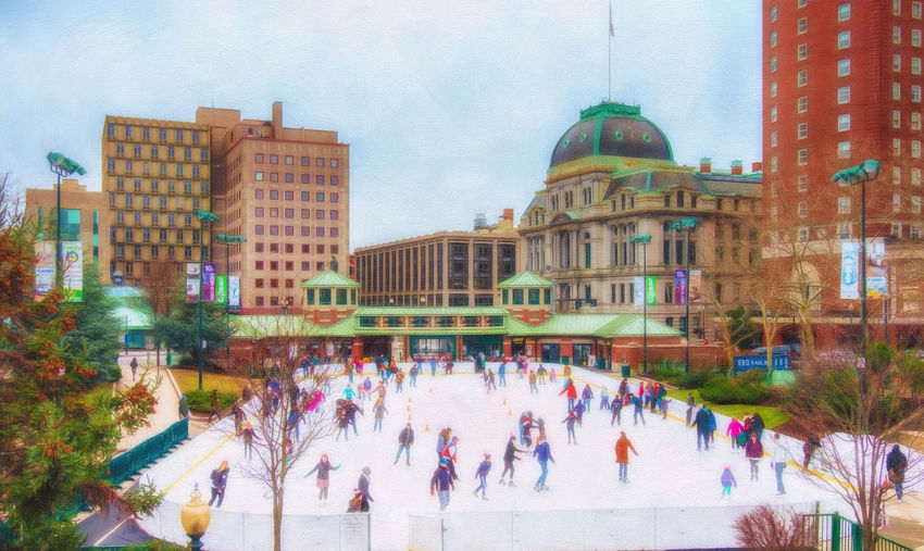 Sunday Afternoon in Providence Alex And Ani Architecture Building Exterior Capital Cities  City City Life Civic Center Façade Ice Skaters Kate Hannon Kennedy Plaza Large Group Of People Providence Providence City Hall Real People Rhode Island Ri Skaters Sunday Sunday Afternoon Urban