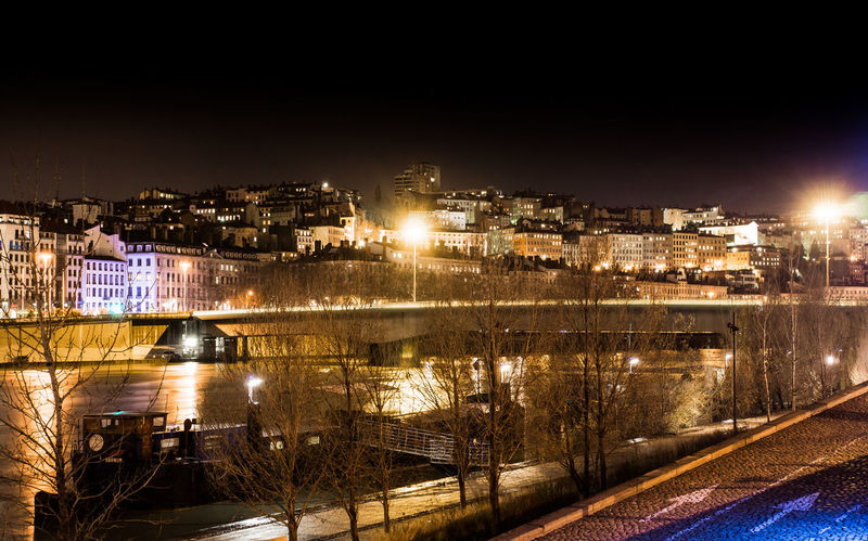 Architecture Barge Boat Building Exterior Built Structure City City Life Cityscape Croix Rousse Croixrousse Illuminated Lyon Night No People Outdoors Reflection Residential Building Residential District Residential Structure Rhône River Water