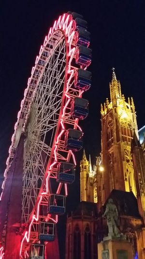 Metz, France Lorraine Region Lorraine Grande Roue Cathedrale By Night No Filter From My Point Of View Hello World Check This Out Colors Colored Red Light Big Wheel Old Stones This Is Where I Live... From Where I Stand