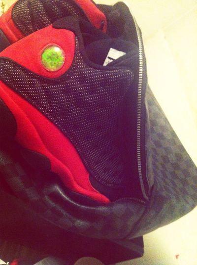 Got the Bred 13's coming out the Louis V bag #YallFeelMe?
