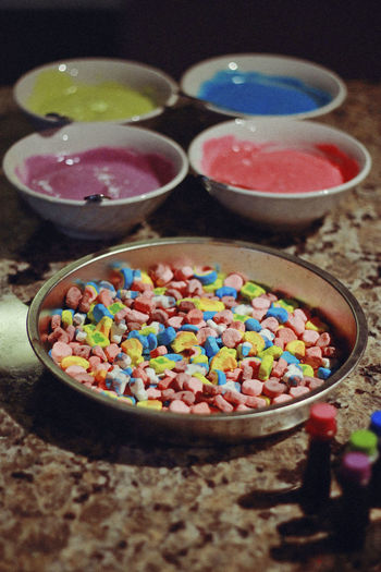 High angle view of colorful candies on table