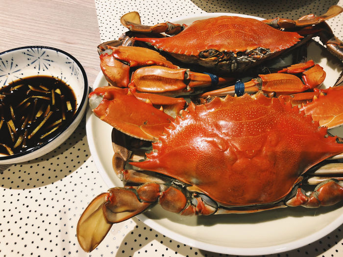 Crab Still Life Indoors  Food Food And Drink Seafood Freshness Close-up Crab - Seafood Ready-to-eat Plate Lobster Claw Orange Color High Angle View Dinner Crustacean Red Meal Foodie Life Lifestyles Eating Autumn Colorful
