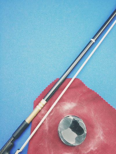 violin bow - violin bow rosin Violin Bow Rosin Violin Bow No People Close-up Indoors  Still Life Blue High Angle View Metal Table Two Objects Equipment Craft Arts Culture And Entertainment Art And Craft