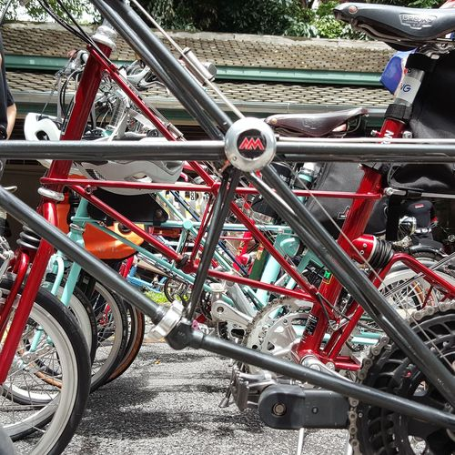 Transportation Land Vehicle Day Outdoors Mode Of Transport Bicycle Metal Stationary Red No People Sunlight Bicycle Rack Close-up Alexmoulton