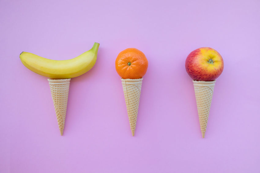Banana Choice Close-up Colored Background Cone Dieting Directly Above Food Food And Drink Freshness Fruit Group Of Objects Healthy Eating High Angle View Horn Ice Cream Indoors  No People Pink Background Pink Color SLICE Snack Still Life Studio Shot Wellbeing
