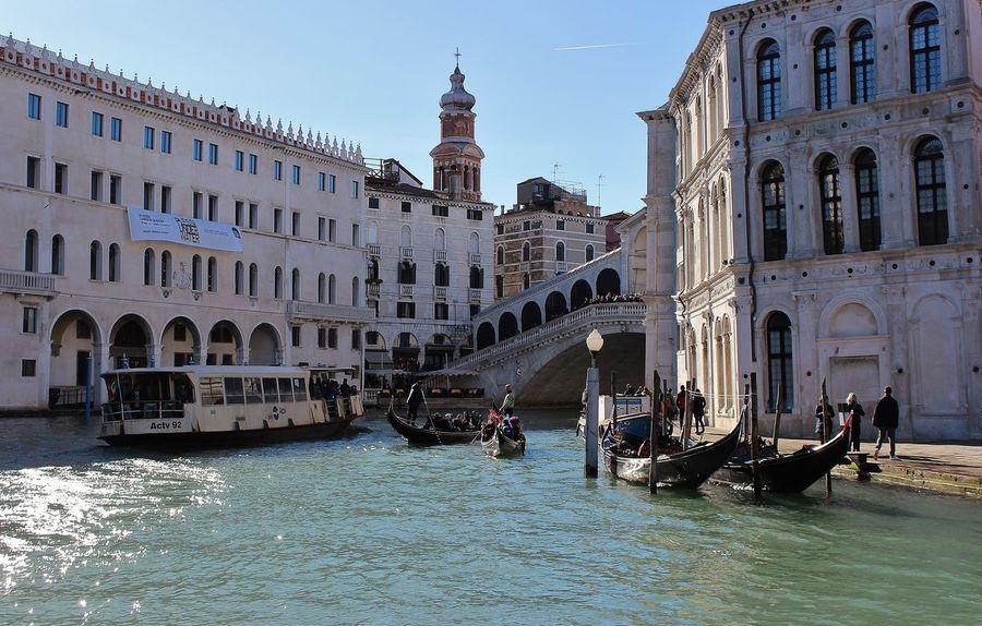 Citta Gondola Luce Ponte Di Rialto Riflessi Sull'acqua Sole Turism Venice, Italy Water