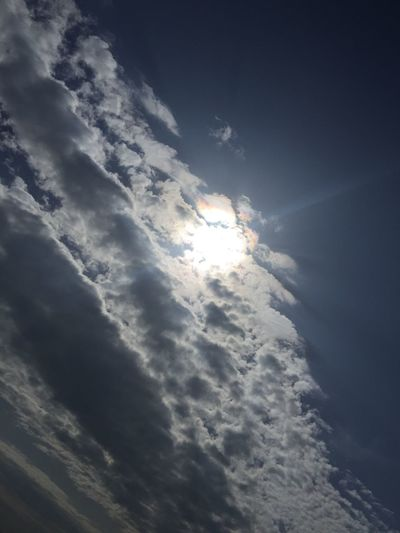 Low angle view of clouds in sky during sunny day