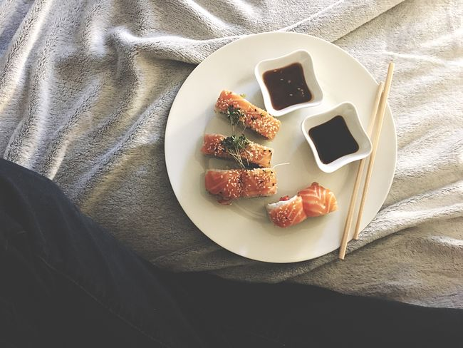 Sushi time Soja Sauce Hipster Jeans Bed Asian  Chopsticks Salmone LAX Sushi Time Sushi Food Food And Drink High Angle View Indoors  Plate No People Directly Above Sweet Food Freshness Ready-to-eat Healthy Eating