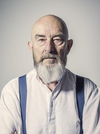 sympathetic senior man with a beard Bald Beard Gent Grey Headshot Male Man Old Portrait Portrait Of A Man  Senior Sympathetic