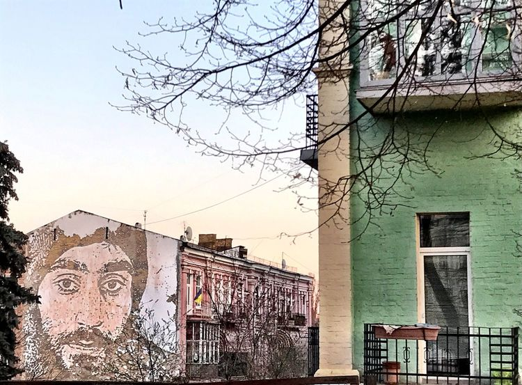 Building Exterior Architecture Built Structure Bare Tree Tree Sky No People Day Outdoors City Branch Graffiti Mural Art Shotoniphone7 Kiev Art Is Everywhere